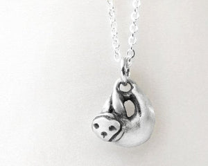 Sterling silver Sloth necklace - tiny!