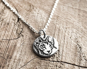 Tiny Sphynx Cat Charm Necklace