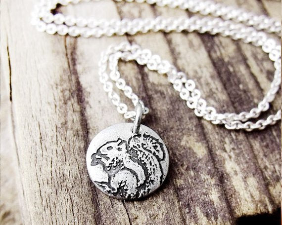 Tiny Squirrel Necklace in Silver