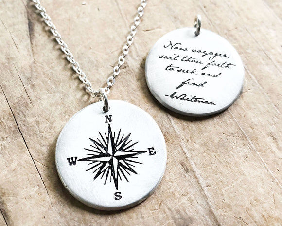 Whitman Voyager Quote Compass Necklace in Sterling Silver