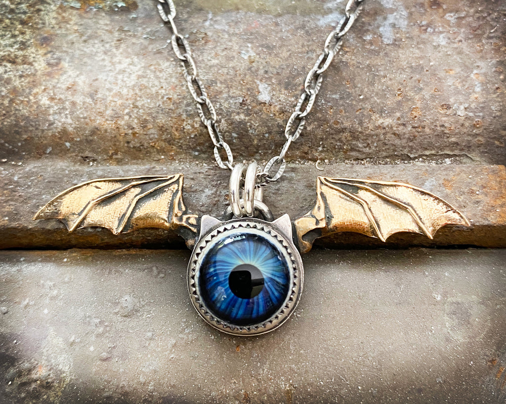 Bat Wing Flying Eyeball Necklace