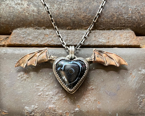 Bat Wing Heart Necklace with Fossilized Palm Heart and Bronze Wings
