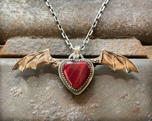 Bat Wing Heart Necklace with Rosarita Heart and Bronze Wings