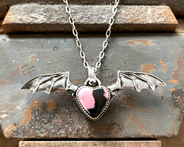 Bat Wing Heart Necklace with Rhodonite Heart