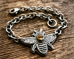 Bee Bracelet - Sterling Silver and Citrine