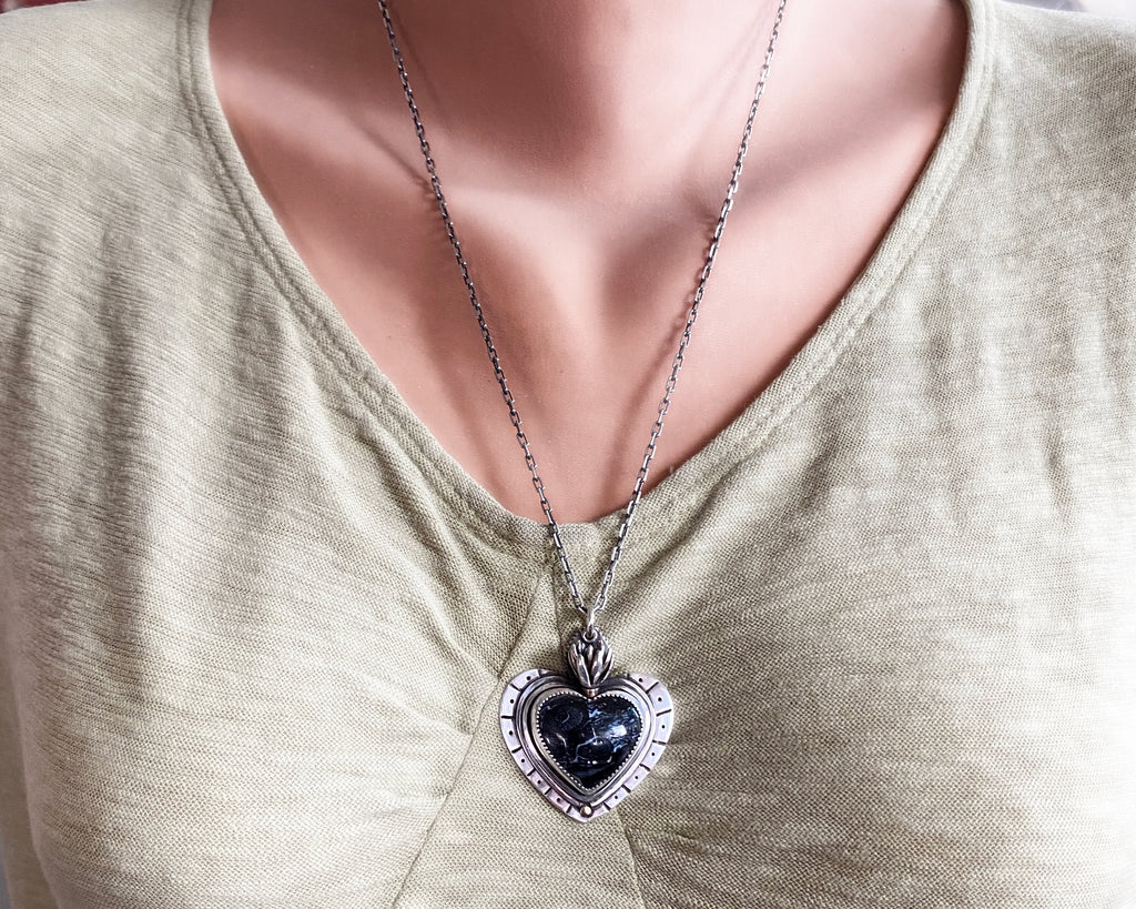 Black Sacred Heart Necklace
