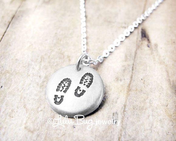 Tiny Silver Hiking Boot Necklace for Hikers and Backpackers