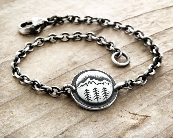 Mountain and trees bracelet