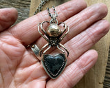 Spider necklace, bronze and sterling silver with black heart