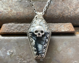 Spiderweb Marble Coffin with Skull Necklace