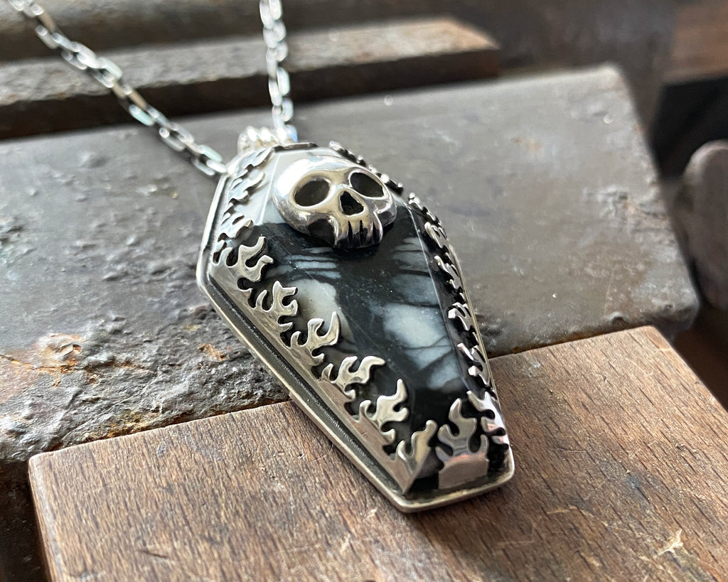 Coffin with Skull Necklace