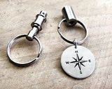 Sterling Silver Compass Key Chain with Thoreau Quote