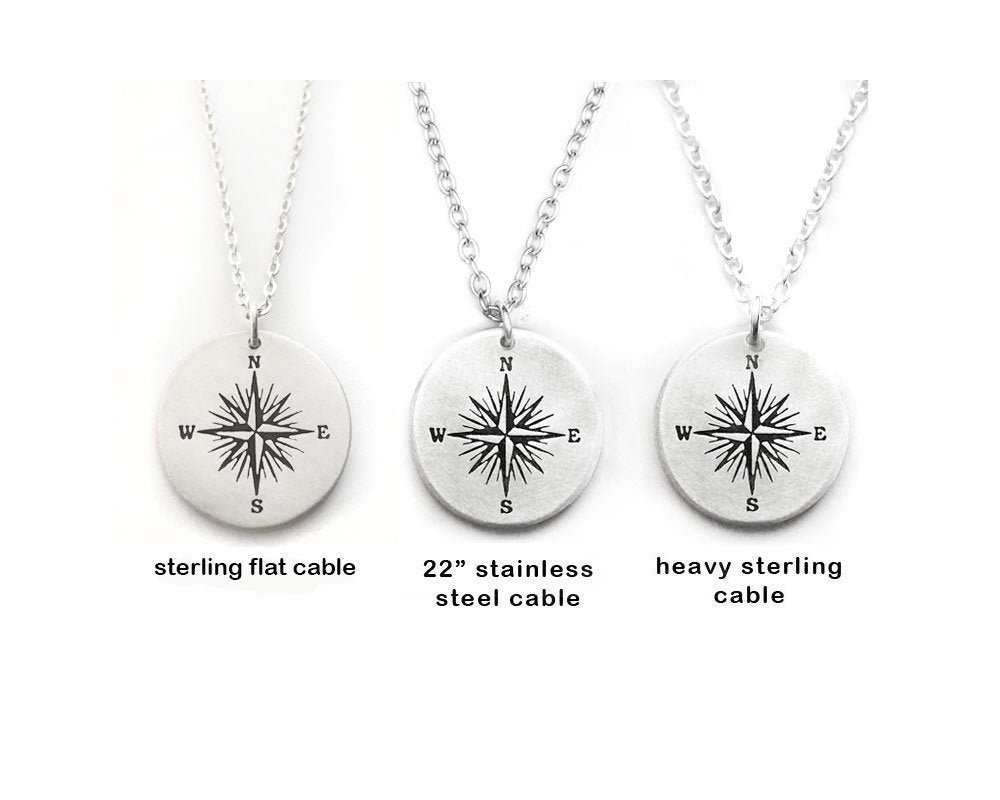 Voyager Quote Compass Necklace