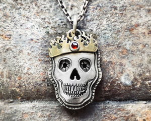 Skull with Fire Crown in Sterling Silver and Brass with Rose Cut Garnet