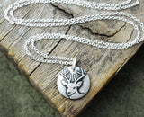 Tiny Deer Necklace in Silver