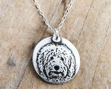 Tiny Goldendoodle Necklace in Silver, Labradoodle