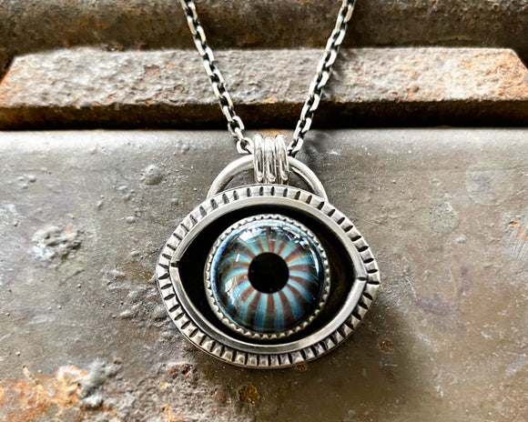 Evil Eye Necklace with Brown and Blue Striped Eye