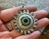 Sterling Silver Glass Eye Necklace with 14K Gold dots