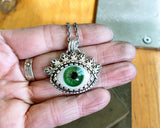 Green Glass Eye Necklace in Sterling Silver