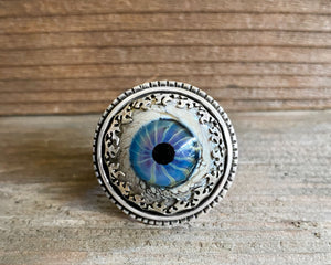Glass eye adjustable ring
