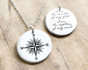 Sterling Silver Compass Necklace with Invictus Quote