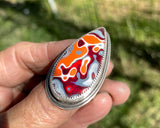 Orange and Red Adjustable Fordite Ring