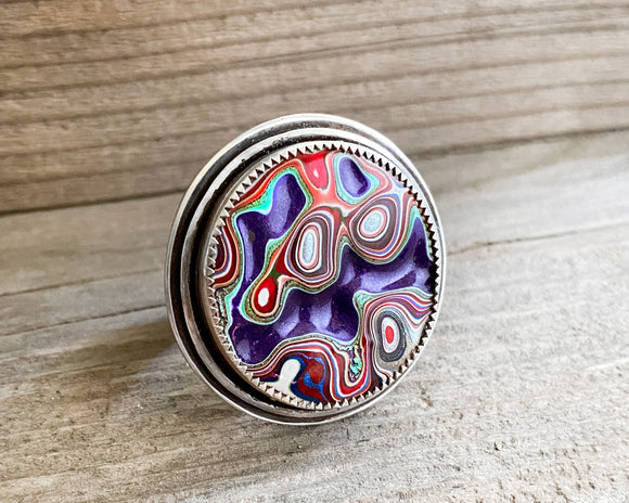 Purple Adjustable Fordite Ring