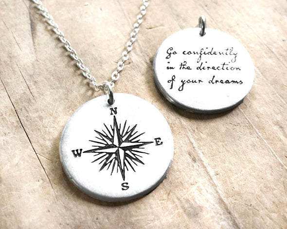 Compass Necklace with Thoreau Quote