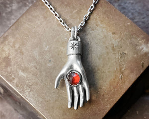 Sterling Silver Hand Holding Garnet Necklace