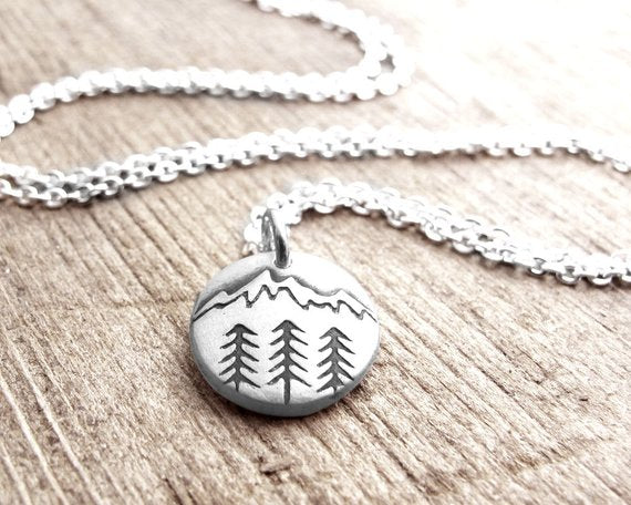 Tiny Mountain and Trees Necklace