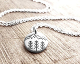 Tiny Silver Mountain and Trees Necklace