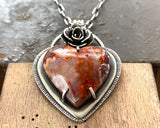 Laguna Lace Agate Heart Necklace With Cast Succulent Flower