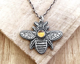 Bee necklace in Sterling Silver with Citrine