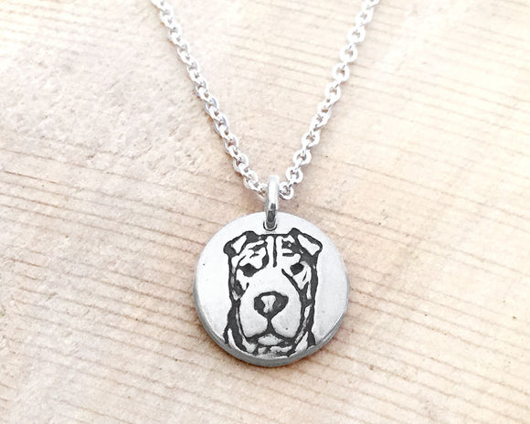 Tiny Shar Pei Necklace in Silver