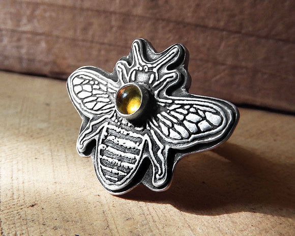 Bee ring in Sterling Silver and Citrine