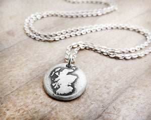 Tiny Map of Scotland Necklace in Silver
