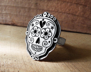Sugar Skull Ring in Sterling Silver