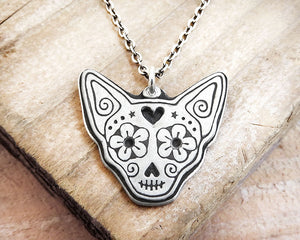 Chihuahua Day of the Dead Necklace in Sterling Silver
