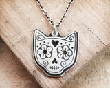 Cat Sugar Skull Necklace in Sterling Silver