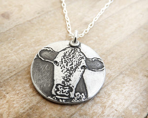 Hereford Cow Necklace in Silver