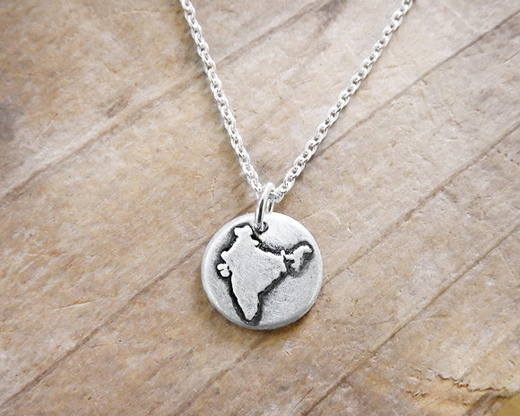 Tiny India Necklace in Silver