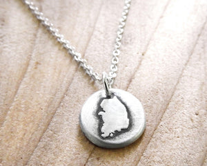 Tiny map of South Korea Necklace in Silver