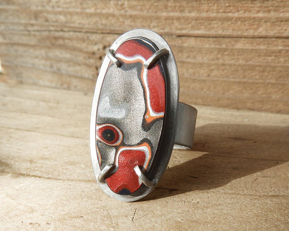 Adjustable Fordite Ring in Sterling Silver