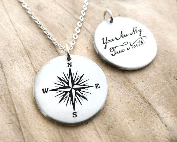 Sterling Silver Compass Necklace with Quote, You are My Truth North, for Women and Men