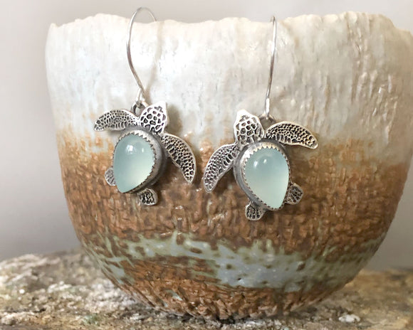 Sea Turtle Earrings in Sterling Silver and Aqua Chalcedony, made to order