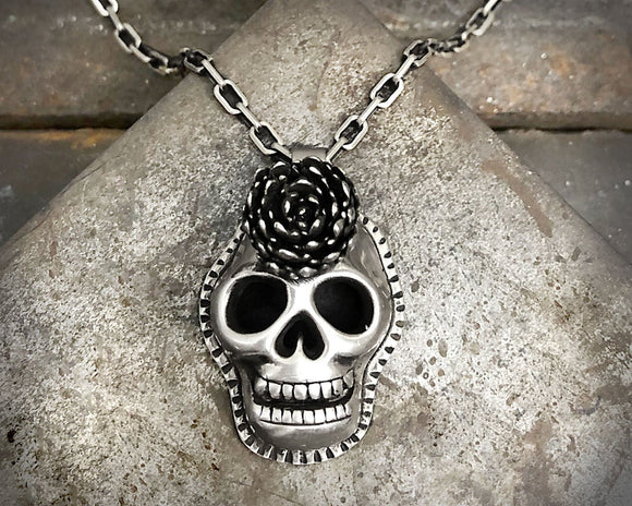 Sterling Silver Sugar Skull Secklace with Cast Succulent Flower