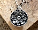 Skull Flower Necklace in Sterling Silver with Cast Succulent