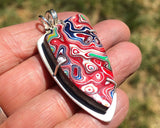 Red Fordite Necklace in Sterling Silver