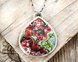 Red Fordite Necklace in Sterling Silver with lots of shimmer
