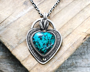 Sacred Heart Necklace with Cast Succulent Flame and Turquoise Cabochon